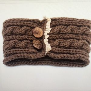 ❤️ 4 Left! Brown Knit Button & Lace Headbands